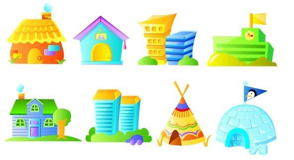 Cartoon house building vector image material