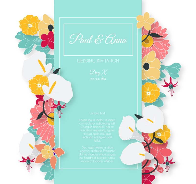 Creative Floral Wedding Invitation Card Design Vector