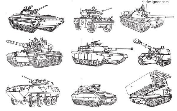 Tanks and soldiers vector material
