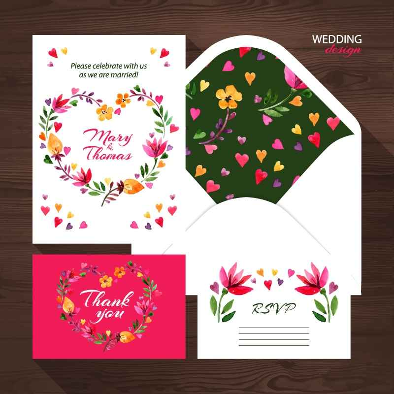 4 exquisite floral wedding card design vector