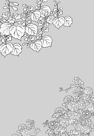 Japanese line drawing of plant material -6 Flower Vector