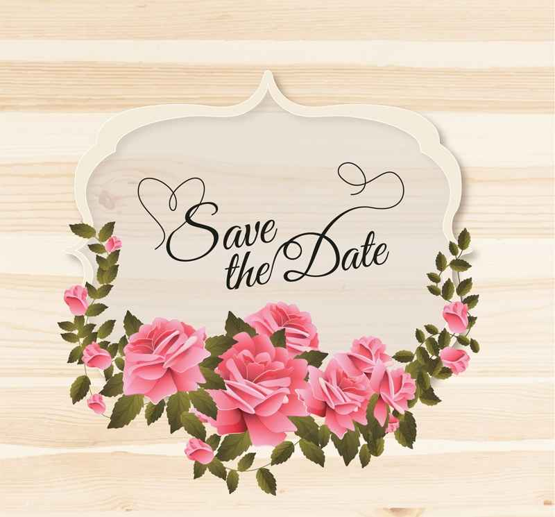 Rose Wedding label vector material