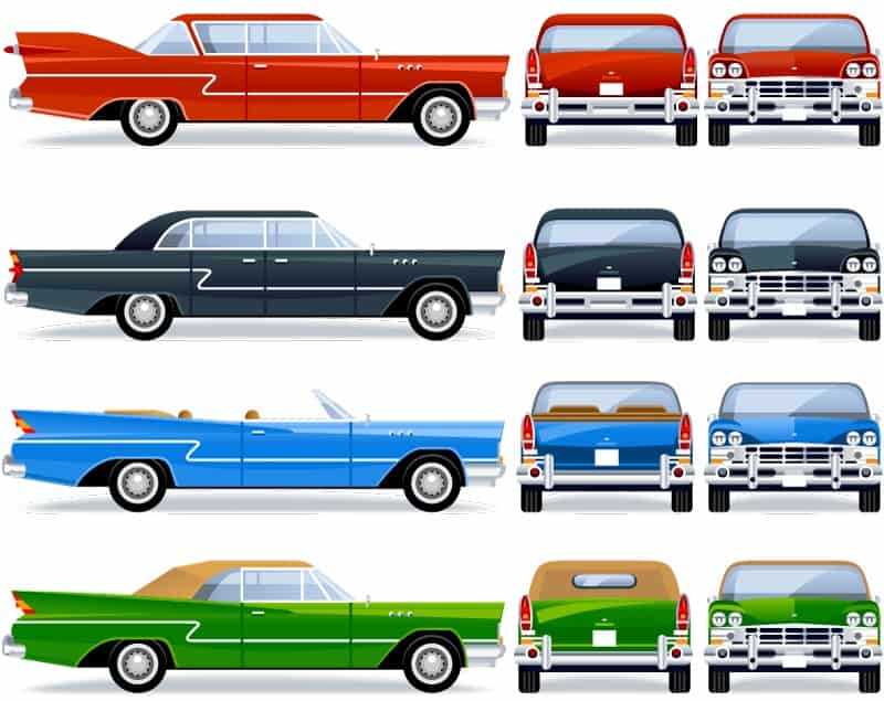 Vintage car design vector material