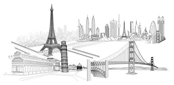 Four wonderful line drawing vector material famous buildings