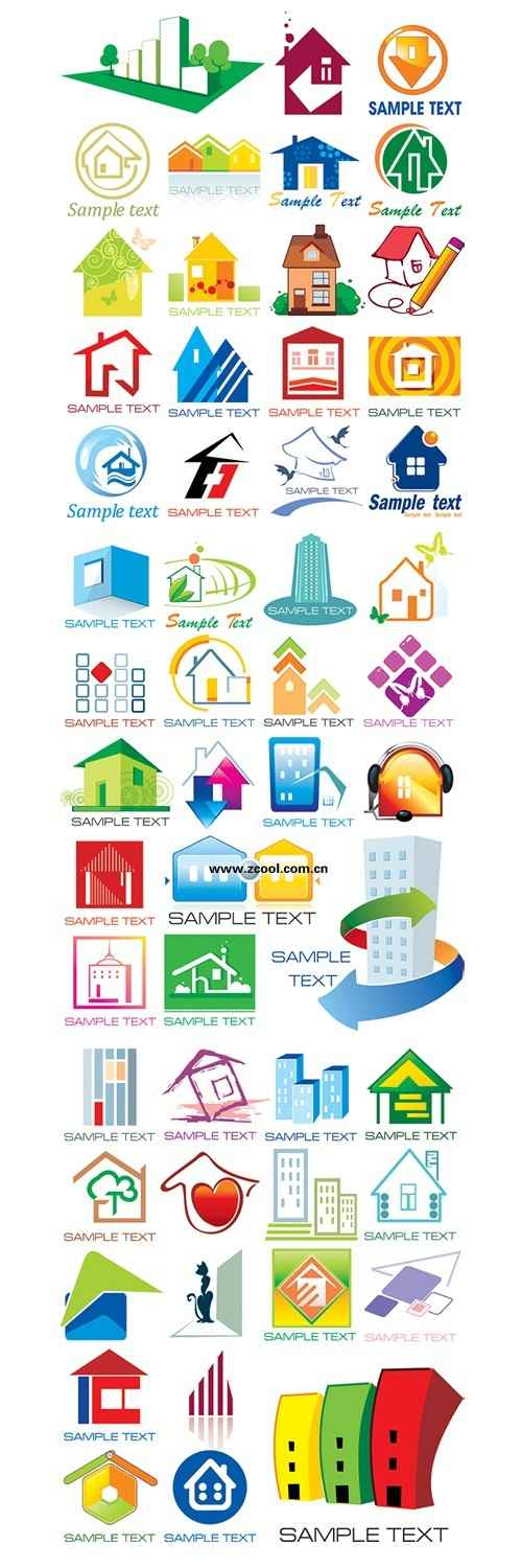 more than 50 of each style small house vector material