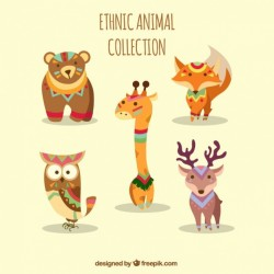 Collection of ethnic animals with ornaments Vector   Free Download