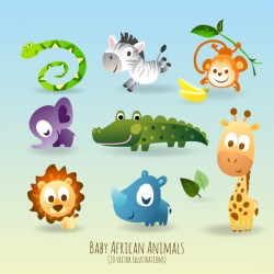 Cute and funny animals Vector | Free Download