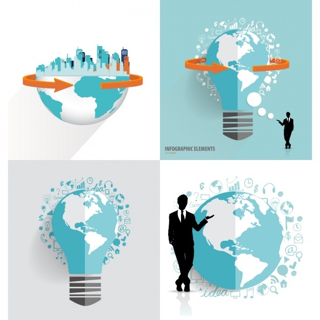 Earth globe infographic elements Vector | Free Download