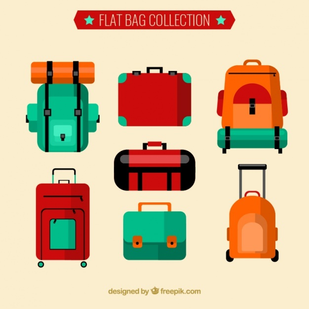 Flat collection of backpacks and suitcases Vector | Free Download