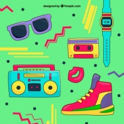 Hand drawn 80s style background Vector | Free Download