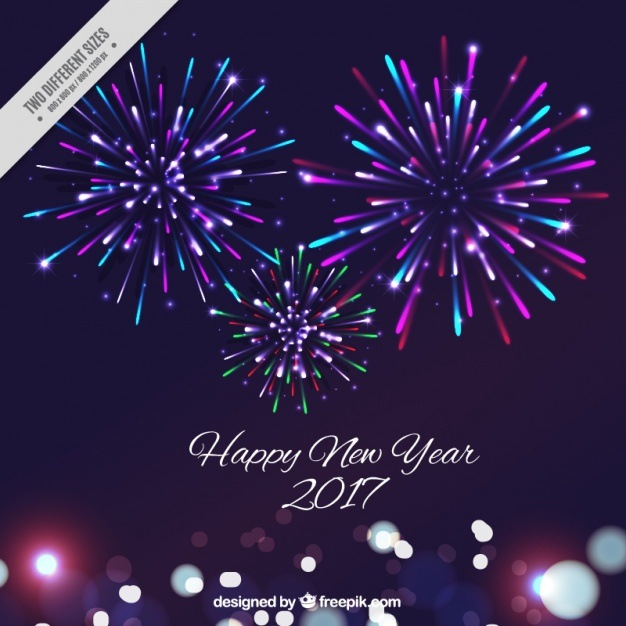 New year background with colorful fireworks Vector | Free Download