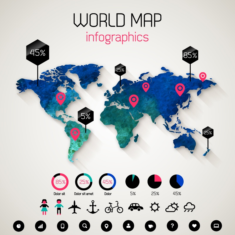World map infographics vector epin free graphic clipart world map infographics vector gumiabroncs Gallery
