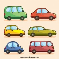Assortment of hand-drawn colorful vehicles