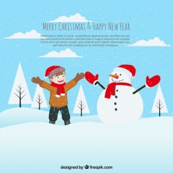 Background of happy child playing with a snowman Vector | Free Download