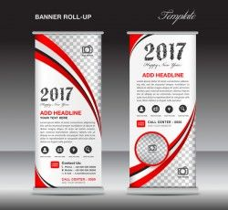 banner roll up flyer stand template vector 09