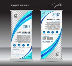 banner roll up flyer stand template vector 02