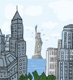 Building and the Statue of Liberty vector