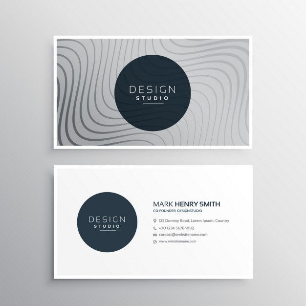 Business identity card template with abstract wavy lines