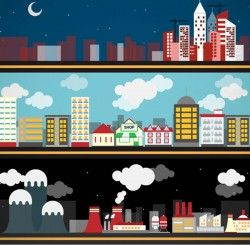 City building banner vector pictures