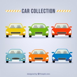 Collection of colorful cars in front view