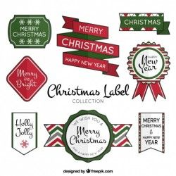 Collection of decorative retro christmas badges