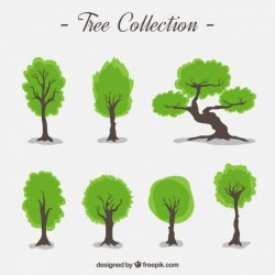 Collection of hand-drawn trees