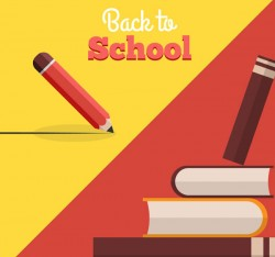 Creative books back to school poster vector