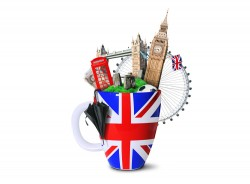 Cups and famous buildings picture material