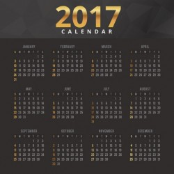 Elegant black and gold calendar 2017