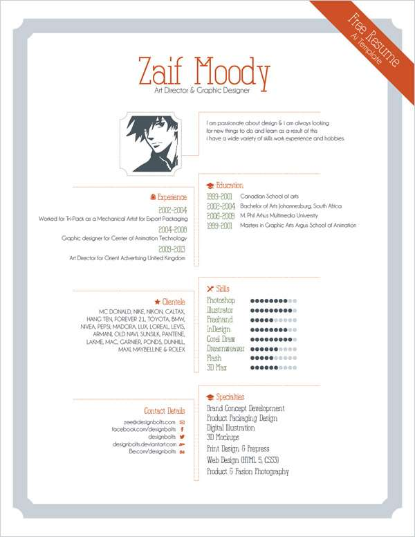 Free Resume Template For Graphic Designers | Illustrator Ai & EPS File