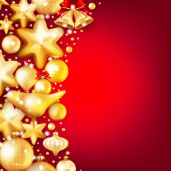 Gold christmas baubles with red background vector 03