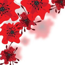 Hand drawn red flower backgrounds vector 04
