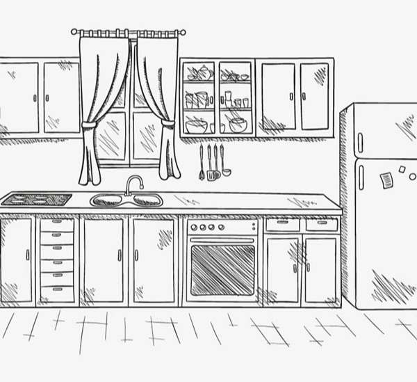 Hand-painted kitchen tidy vector