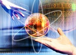 Hands and Earth Science and Technology Creative poster picture material