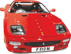 Handsome red sports car vector