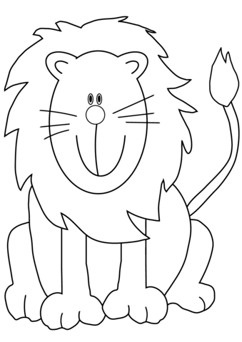 Lovely Cartoon Lion coloring page | Free Printable Coloring Pages
