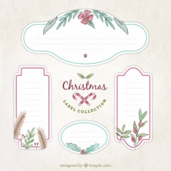 Pack of decorative christmas stickers with floral details
