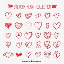 Red sketchy heart collection