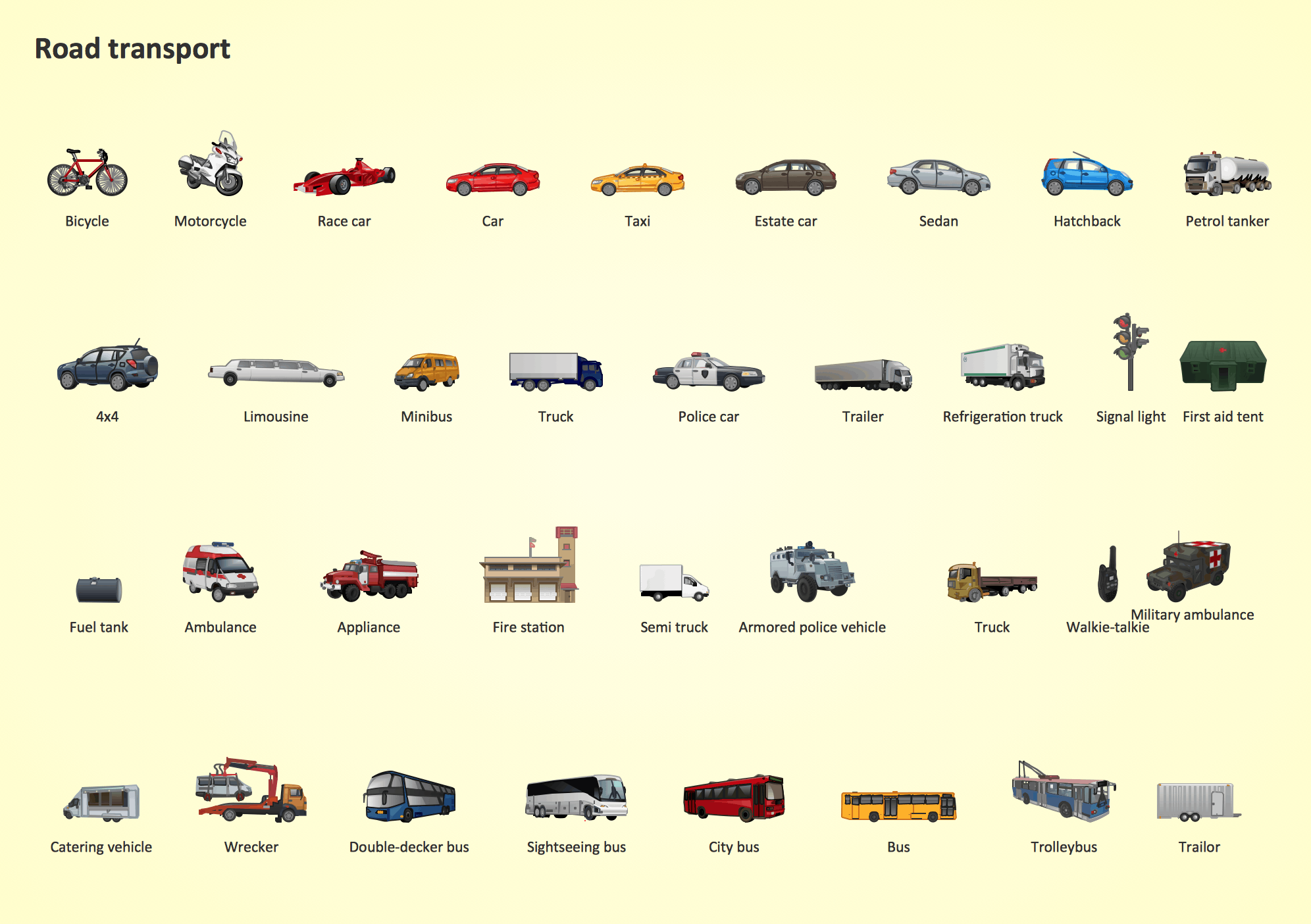 Road Transport Design Element. Transport illustrations