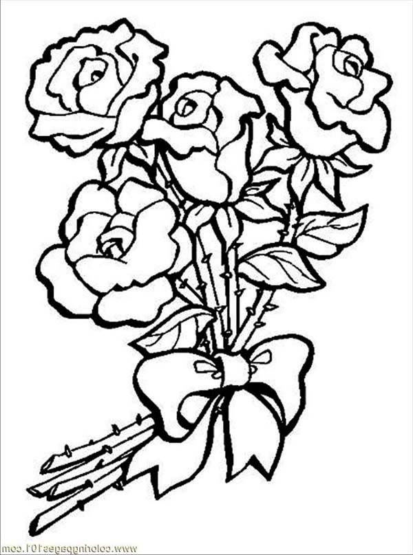 Roses and Ribbon Flower Coloring Page Kids Play Color ePin