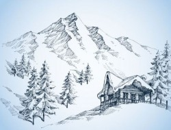 Snow mountains winter Landscape hand drawn vector 02
