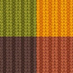 Textures knitted pattern set vector 02