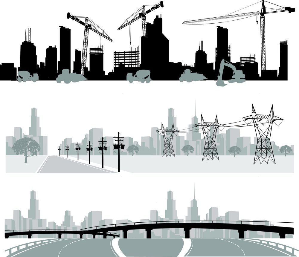 Urban Construction and wire column vector