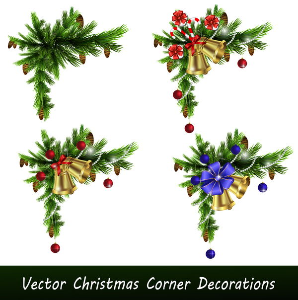 Vector christmass corner decorative