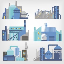 Vector illustration of a modern industrial building