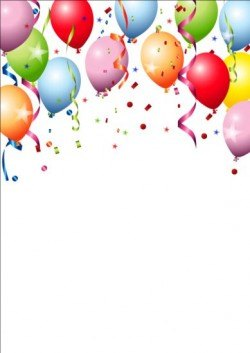 Birthday background colored confetti with balloon vector 01
