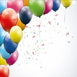 Birthday background colored confetti with balloon vector 02