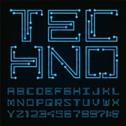 Blue neon number with alphabet vector