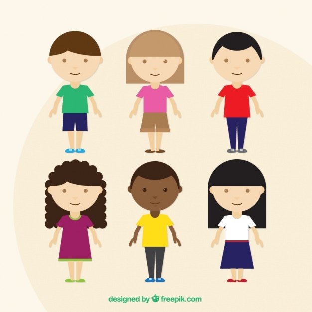 Collection of children with colored clothes in flat design
