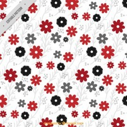 Decorative pattern of red and black flowers